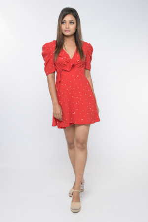 red polka dot wrap dress with gathered sleeve detail