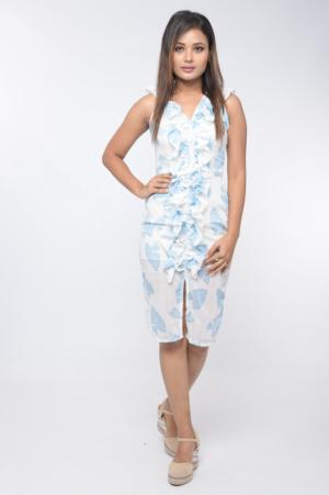 tropical print front slit bodycon dress 30looks