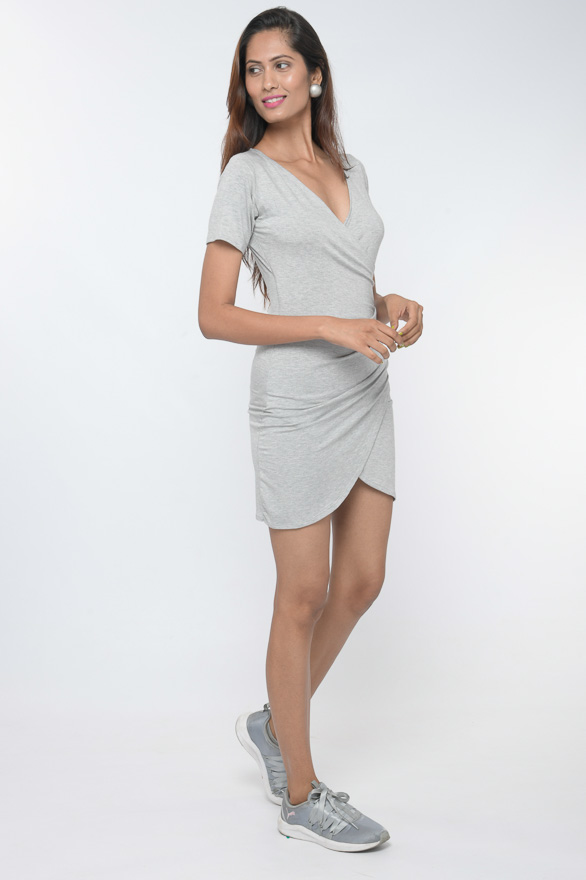 grey oyester grey knit ruched tulip dress 30looks
