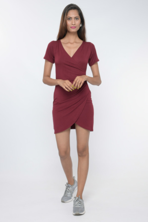 Wine red knit ruched tulip dress 30looks