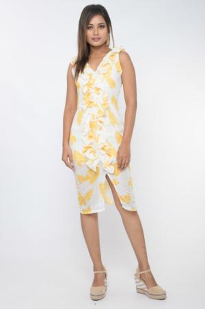 Yelow tropical print front slit bodycon dress 30looks