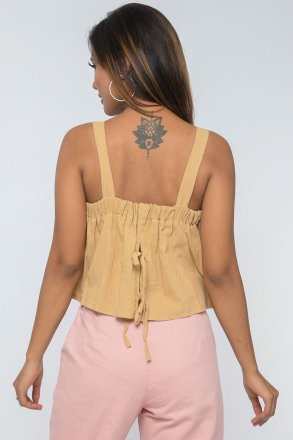 back tie-up sleeveless boxy fit cotton top 30looks
