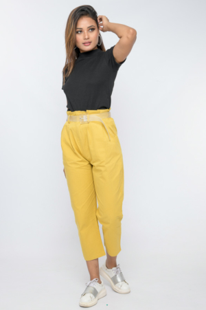 paperbag trousers with transparent plastic belt yellow