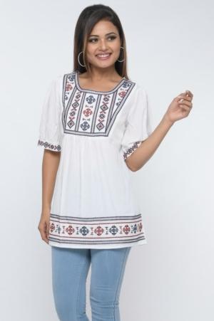 yoke gather boho embroidered tunic