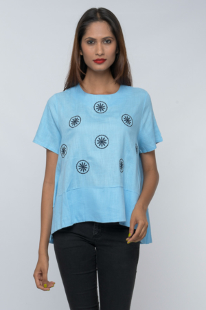 boxy fit embroideredhalf sleeve linen top