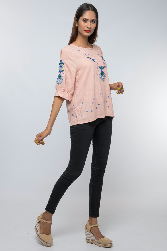 gathered sleeve cuff abstract floral embroidered top