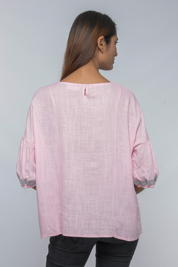 lantern sleeve baby pink embroidered top