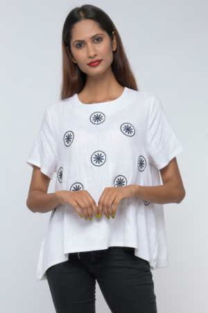 contrast embroidered top