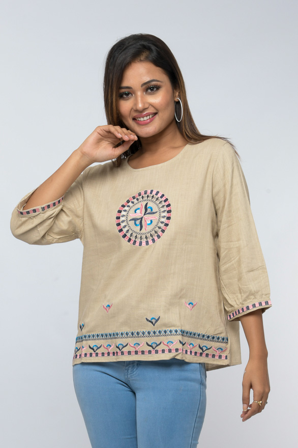 contrast embroidered linen top