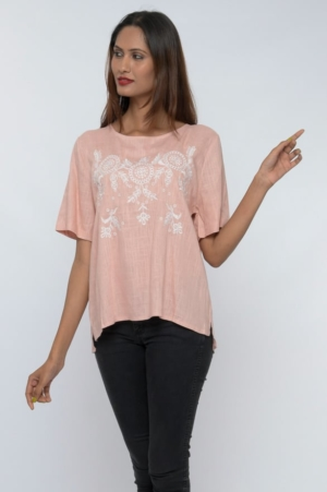 embroidered half sleeve linen top