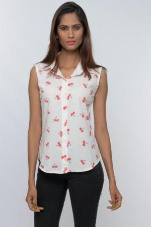 cherry print sleeveless button down shirt