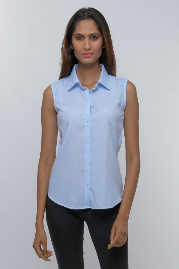stripped button down collared sleeveless shirt