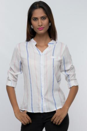 mandarin collar button down striped shirt