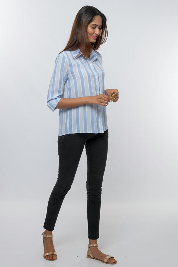 collared stripe button down shirt
