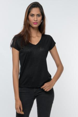 v-neck short sleeves solid tee
