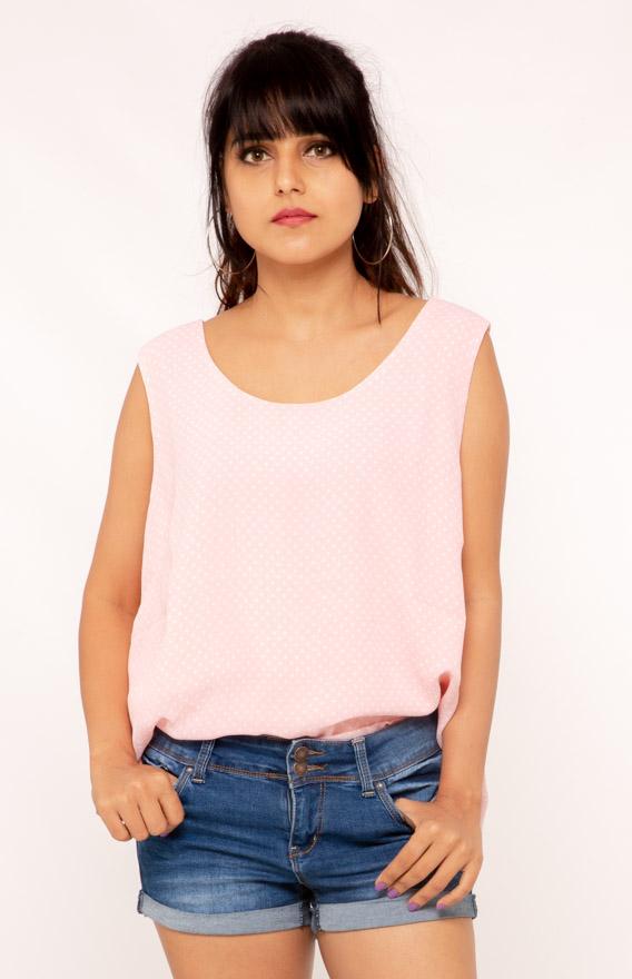 Pink Polka Sleeveless Top