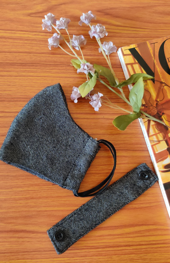 Grey 2 Ply Resusable face Mask with secure back flap