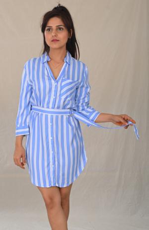 Stripe Play Shirt Dress- 30looks-6292