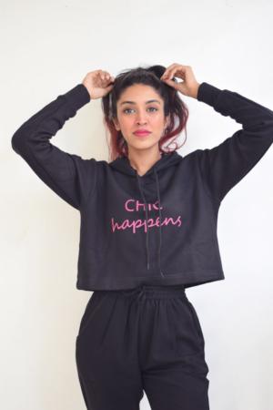 Chic Happens Crop Hoodie