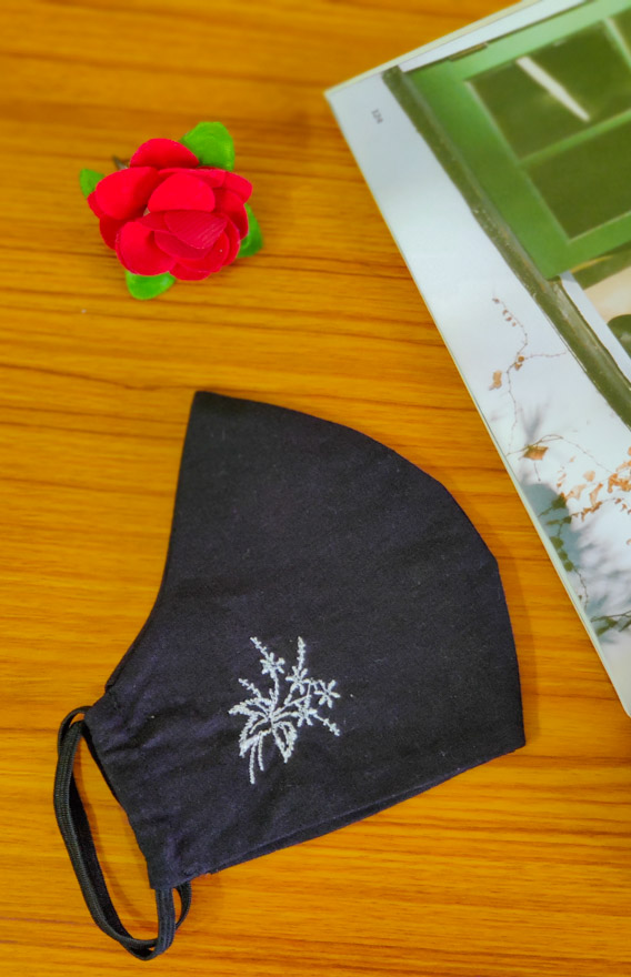 Black Embroidered 2 Ply Reusable Face Mask
