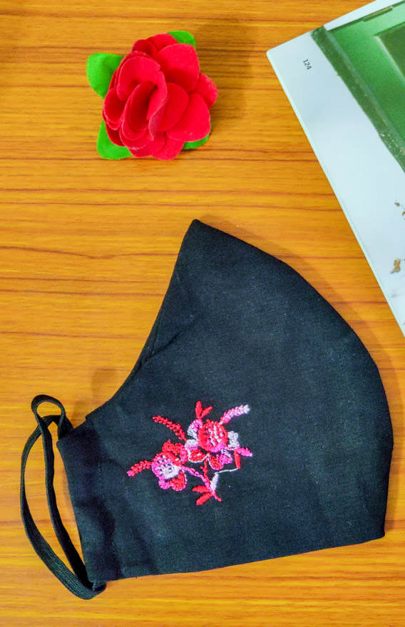 Black Floral Embroidered 2 Ply Reusable Face Mask