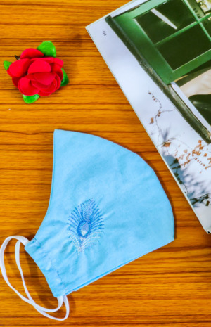 Blue Floral Embroidered 2 Ply Reusable Face Mask