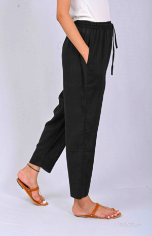 Black Solid Cotton Trousers