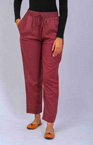 Wine Solid Cotton Trousers